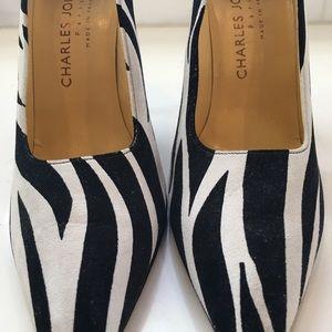 Charles Jourdan Suede Zebra Stripe Pumps
